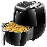 AUKUYEE Friggitrice ad Aria Senza Olio Controllo Touch Screen Lavabile 5.3L 1800W per Una Cottura Veloce Sana e Senza Olio Ricette Incluso(Nero)